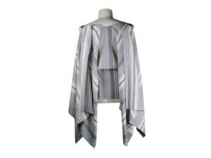 Mantella pastrano colore grigio a righe in lino e cotone con bretella beige