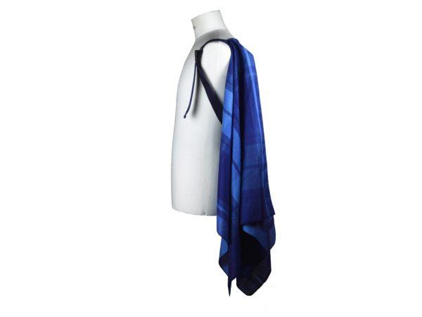 Mantella pastrano colore blu a quadri in cotone con bretella beige