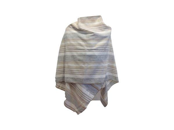 Mantella Pastrano in lino e cotone con bretella colore beige