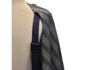 Mantella Pastrano in lino e cotone con bretella colore blu