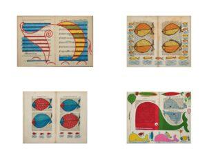 Pennarello e pastello su carta vintage dell'artista Zeno Travegan