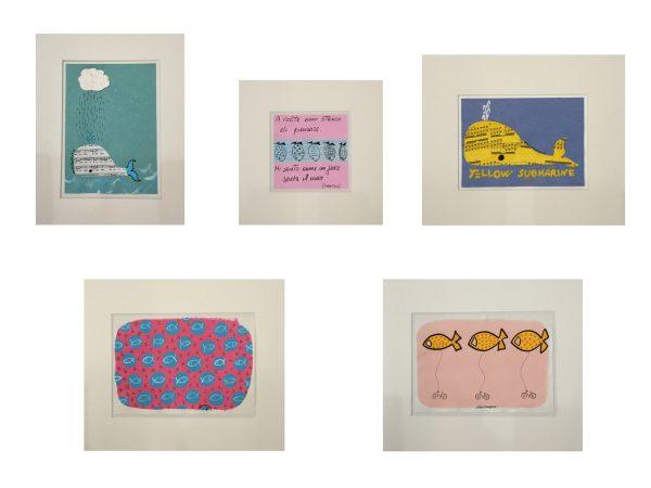 Collage su carta dell'artista Zeno Travegan
