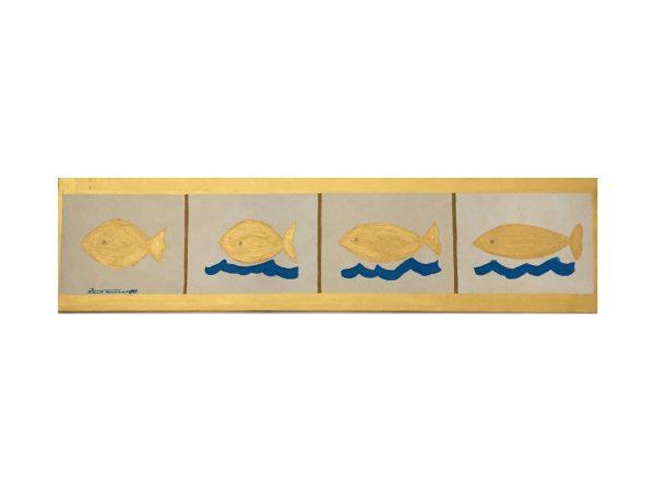 Pesce fuor d'acqua tecnica mista su tela dell'artista Zeno Travegan