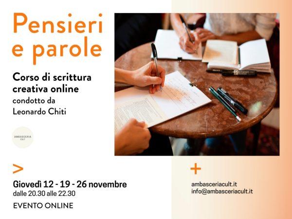 Corso di scrittura creativa online condotto da Leonardo Chiti il 12,19 e 26 novembre 2020