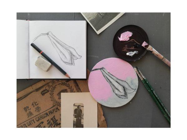 Pittura in acrilico nel laboratorio Dittico Floreale condotto da Barbara Stefani il 3 ottobre 2020 ad Aurisina Trieste