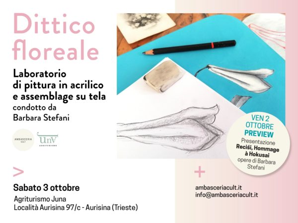 Laboratorio di pittura in acrilico e assemblage su tela il 3 ottobre 2020 ad Aurisina Trieste
